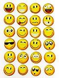 Smiley Smilies Sticker Aufkleber -24Stück- Lächeln Smily Deko Basteln