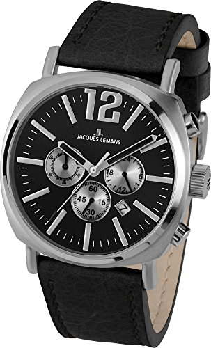 Jacques Lemans Gents Watch Lugano 1–1645E Analogue Display and Gold Leather