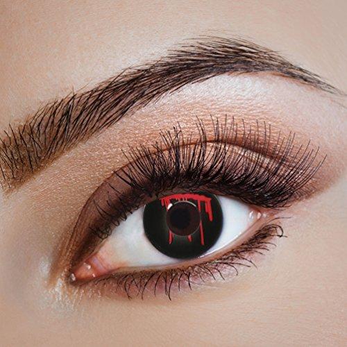 Karneval-Klamotten Kontaktlinsen farbig-e Motiv-Linsen Jahreslinsen ohne Stärke Halloween Fasching schwarz-rot blutendes Auge