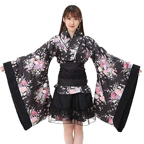 Smniao Damen Japanese Kostüm Kimono Anime Cosplay Lolita Halloween Fancy Dress Blumenmädchen Bowknot Top Rock Set (L, Schwarz)