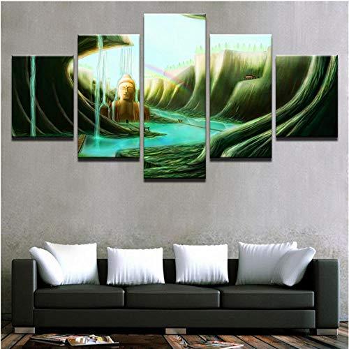 wangyubing Impresiones sobre lienzoLienzo Arte de la Pared Imágenes 5 Piezas Figura...