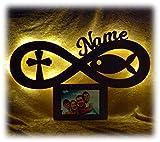 Geschenk zur Kommunion Taufe mit Namen personalisiert - Fisch Kreuz Bilderrahmen beleuchtet (Mit Beleuchtung)