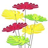 SUNPLAY Sonnenfänger - Palmen-Blatt - 6er Set - 2x Gelb 2x Grün 2x Rot - Ø 20 cm Durchmesser + Schwingstäbe