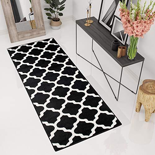 Tapiso® tappeto passatoia maroko corridoio ingresso salotto moderno | colore nero bianco | disegno orientale trifoglio | facile da pulire ottima qualità 70 x 180 cm
