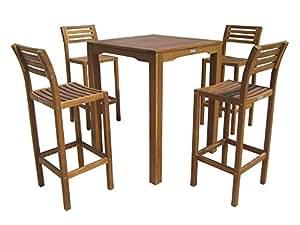 Gardissimo (47-) Gartenmöbel Bar Set 5 teilig Barhocker und Stehtisch Massivholz Natur