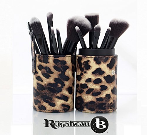 ReignBeau B Make-up Pinsel-Set–12 Teile mit Bürstentopf/ Tragetasche (Leopard) (Leopard Rebel)