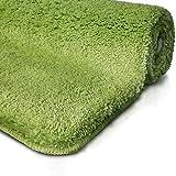 Badematte | Kuscheliger Hochflor | Rutschfester Badvorleger | Viele Größen | Zum Set Kombinierbar | Öko-Tex 100 Zertifiziert | 50x80 cm | Apple Green (Grün)