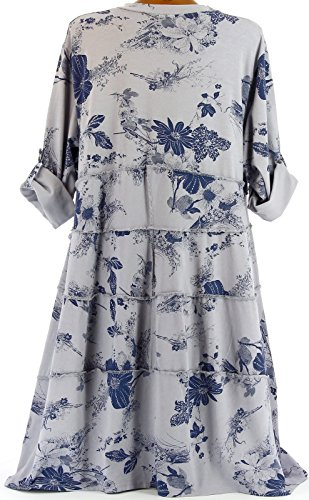 Charleselie94® - Robe été bohème coton grande taille gris PATCHWORK GRIS Gris