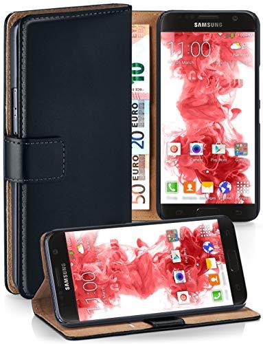 moex® Booklet mit Flip Funktion [360 Grad Voll-Schutz] für Samsung Galaxy S7 | Geldfach und Kartenfach + Stand-Funktion und Magnet-Verschluss, Schwarz