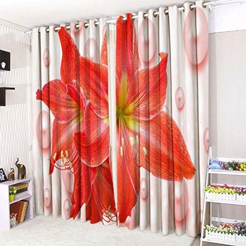 Cushionmania tende con occhielli 3d tenda 16popular design. (132,1cm larghezza x 228,6cm goccia, tulipano rosso)
