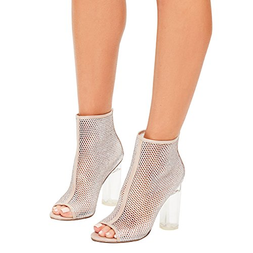 Damen Peep Toe Sandalen High-Heel Transparent Pailleten Blockabsatz Weiß