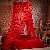 Princess Moskitonetz Bettüberdachung Für Kinder Insektenschutz Indoor Dekorative Höhe 2,7 M Durchmesser 1m Rot Festliche Bettvorhänge