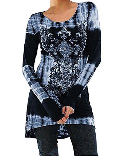 Minetom Damen Vintage Rundhals Lange Ärmel Blouse Shirts Lässig Langarmshirts Frühling Herbst Winter Gedruckt Hemd Oberteile Minikleid Tops Blau DE 40
