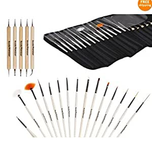 15X Brosse Pinceau À Ongle + 5X Stylo Dotting Pen Manucure Trousse Kit Nail Art