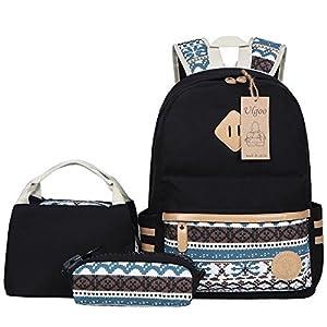 Ulgoo Canvas Casual School Backpacks Teen Girls Bookbags Shoulder Bags (Black1)