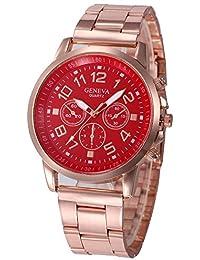 Kinlene mujer relojes acero inoxidable muñeca reloj analogico de cuarzo de deporte relojes (Red)
