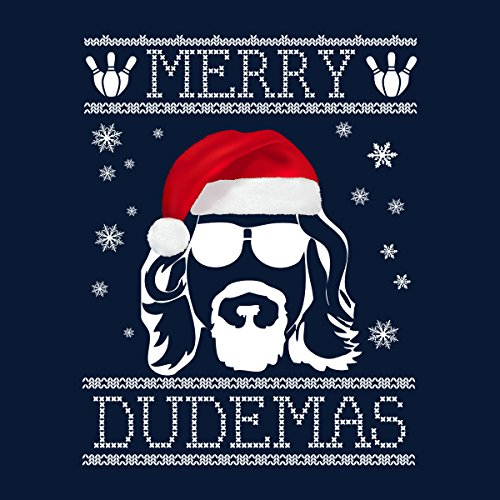 Big Lebowski Merry Dudemas Christmas Knit Women's Hooded Sweatshirt Navy blue