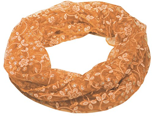Immerschön Rundschal mit dekorativem Spitzen-Dekor orange Loop Schal RS - Orangen Dekor