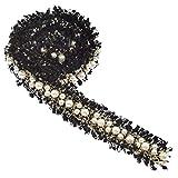 Hongma 1 Yard Spitzenband Stoffband mit Perlen Nähen Hochzeit Party Dekor size Länge 91.5cm (Schwarz)
