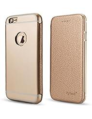 PhoneStar Premium piel carcasa de aluminio carcasa funda con tapa con protector de silicona de metal para el Apple iPhone 7en negro dorado dorado iPhone 7