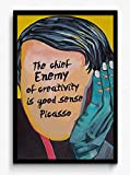 Seven Rays Picasso - Enemy of Creativity Framed (With Glass) Poster