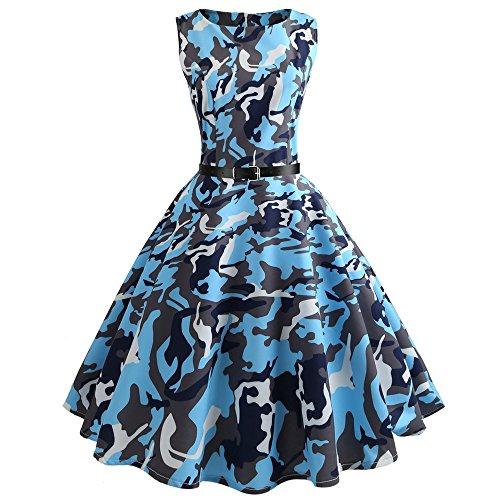 KPILP Vintage rétro 1950's Audrey Hepburn Robe de soirée Cocktail année 50 Rockabilly Robe de mariée Robe de Cocktail(Bleu,S)