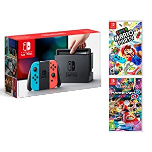 Nintendo Switch 32Gb Neon-Rot/Neon-Blau Pack Super Mario Party + Mario Kart 8 Deluxe