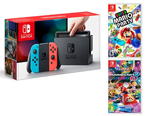 Nintendo Switch Rouge/Bleu Néon 32Go Pack Super Mario Party + Mario Kart 8 Deluxe