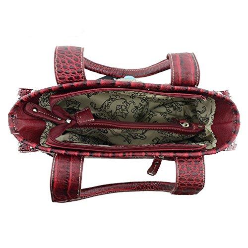 Blancho Bedding Womens [Vest S # 2] Cuoio borsa di modo nappa elegante borsa a spalla Nero Handbag S#2-Burgundy