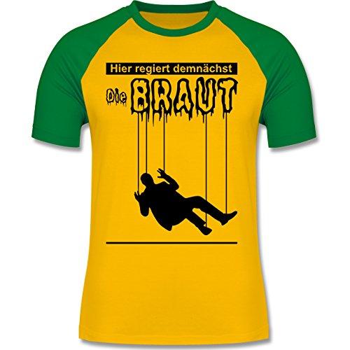 JGA Junggesellenabschied - Hier regiert demnächst die Braut - zweifarbiges Baseballshirt für Männer Gelb/Grün