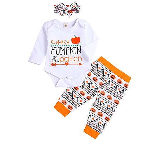 Shiningbaby Süßeste Kürbis Halloween Outfit Baby Boy Girl Brief Muster Langarm Strampler Top und Hosen und Kopfschmuck 3PCS - Baby Kürbis Kostüm Muster