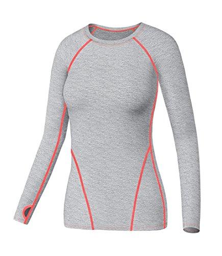 Liebe Long Sleeve Thermal (LWJ 1982 SuperThermal Base Layer Damen Lauf Langarmshirt mit Daumenloch Funktions (Französisch Grau, L))
