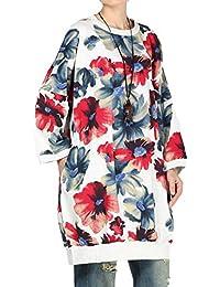 Vogstyle Femmes Pull en maille Robe Imprimée Patchwork Avec Poches