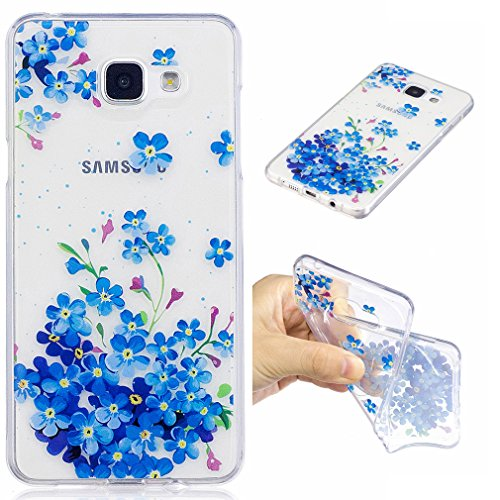 SZHTSWU Hülle für Samsung Galaxy A3 (2016) SM-A310F, Ultra Slim Weiche TPU Ultradünn Silikon Schutzhülle Case Transparent Clear Flexible Rückschale Back Cover, Blau Blume Sm Blume
