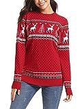 Abollria Damen Lang Strickpulli mit Rentiermuster Weihnachtspullover Rundhals Winterpulli Christmas Sweater