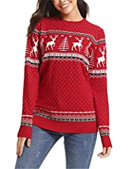Idea Regalo - Abollria Maglioni Natalizi Maglione Elegante a Girocollo per Natale Pullover a Maglieria per Donna Umono Bambina e Bambino