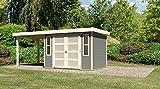 Karibu Gartenhaus MÜHLENDORF 4 + Anbaudach 2,20m terragrau 302x217cm 19mm
