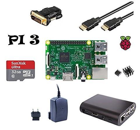 Raspberry Pi 3Modèle B (fabriqué en UK) Starter Bundle slim design (4) Boîtier noir/2,5A Bloc d'alimentation/32Go Carte mémoire Lot de 2Class10/Câble HDMI avec Ethernet/DVI Adaptateur/dissipateur