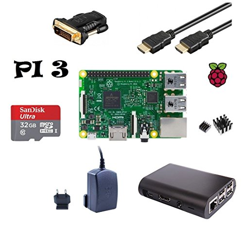 Raspberry Pi 3 Model B ( Made in UK ) Starter Bundle SLIM Design (4) schwarzes Gehäuse / 2,5 A Netzteil / 32GB Speicherkarte Class10 / HDMI Kabel mit Ethernet / DVI Adapter / 2er Set Kühlkörper