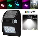 FENGSUN Motion Sensor Solar Lights,12 LED Waterproof IP65 Auto On/Off with RGB Colour Changing Function Solar Energy Powered Lights for Garden Patio Security Driveway