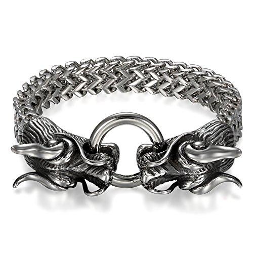 JewelryWe Schmuck Herren Armband, Edelstahl, Gotik Gegenüber Drachen Biker Panzerkette Armkette, Schwarz Silber