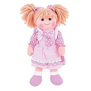 Bigjigs Toys Muñeca de 13Pulgadas Anna Suave Cuerpo muñeca de Peluche con Pelo y Traje