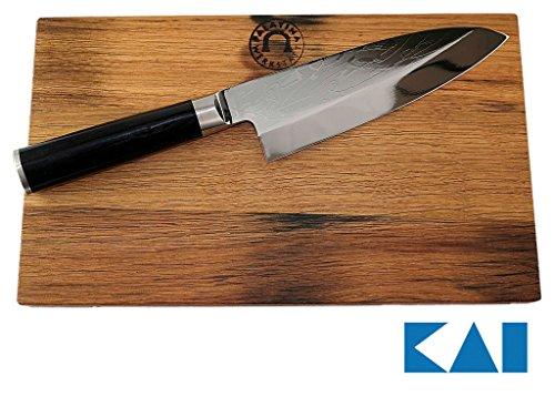 Kai Shun Geschenkset Pro SHO VG-0002 Deba Messer 16 cm + von Hand gefertigtes Schneidebrett aus...