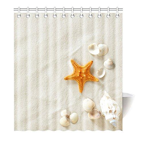 violetpos tenda da doccia Orange stella di mare beige spiaggia di alta qualità bagno, Poliestere, 120 x 180 cm