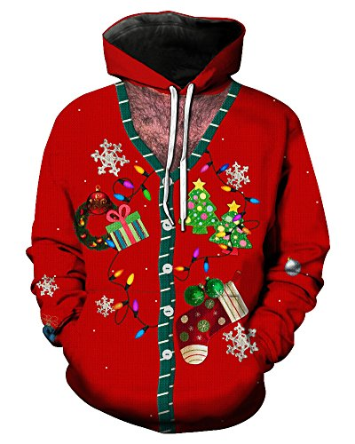 Minetom Unisex Hoodies HD 3D Imprimir Pullover Regalos de Navidad ligero Sudaderas con bolsillos Estilo 10 EU XL