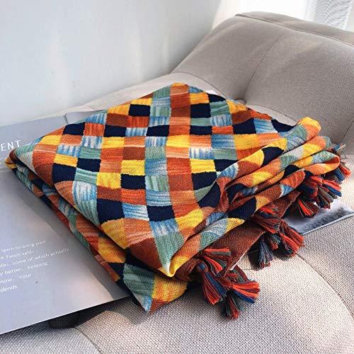 HAZVPO Autumn Winter Female Plaid Scarf Women Knitting Scarves Long Shawl Wrap Blanket Warm Scarf-1