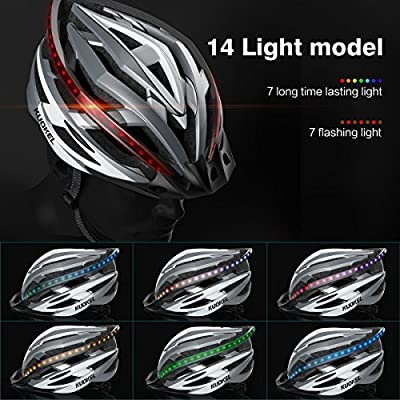 Kuokel Light Weight Cycle Helmet for Bike Riding Safety,Ultralight Bicycle Helmet Unisex with Safety LED Taillight Adjustable Strap Road/Mountain Bike Cycle Helmets For Men Women, 56-61 cm (22inch-24inch) by Kuokel