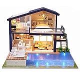 3D DIY Puppenhaus Haus Handgefertigt Spielzeug Miniatur Holzhaus Möbel Zubehör Holz Puppenhaus Handwerk Miniatur Kit Mit LED-Licht Spieluhr als Kinder Geschenk