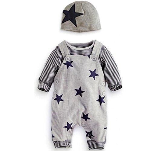 Amlaiworld Bebé de rayas recién nacido camiseta Tops + babero pantalones +...