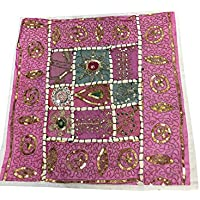 Mogul Interior Pillow Cover Indian Vintage Sari Sequin Embroidered Patchwork Pink 16x16